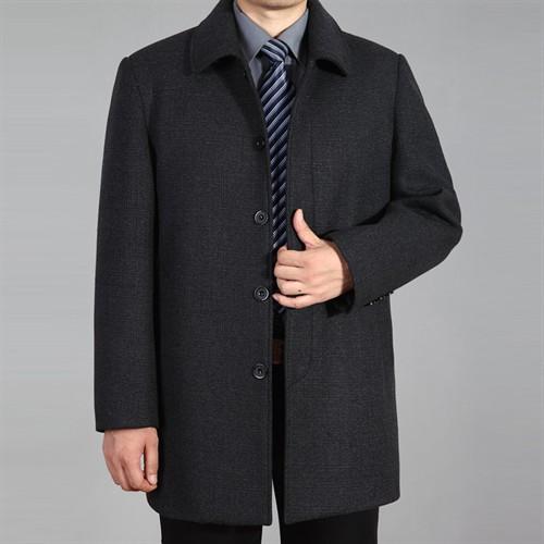 Áo khoác dạ trung niên lông cừu DNG - Xám đậm XL