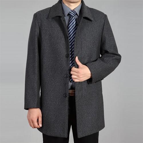 Áo khoác dạ trung niên lông cừu DNG - Màu xám L