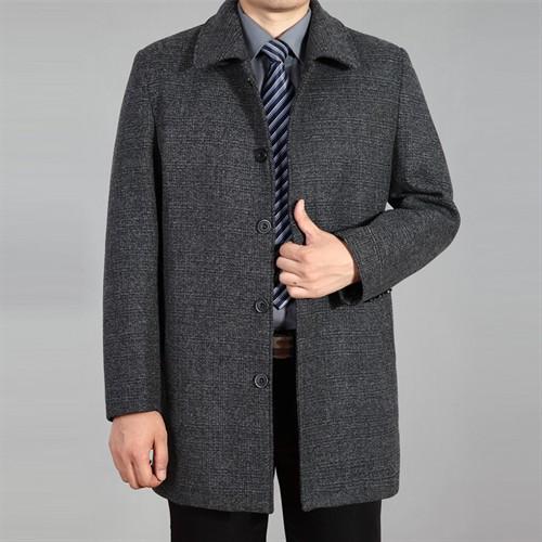 Áo khoác dạ trung niên lông cừu DNG - Xám nhạt L