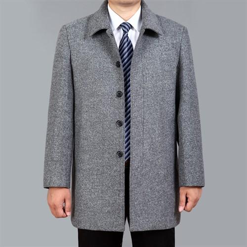 Áo khoác dạ trung niên lông cừu DNG - Xám bạc L