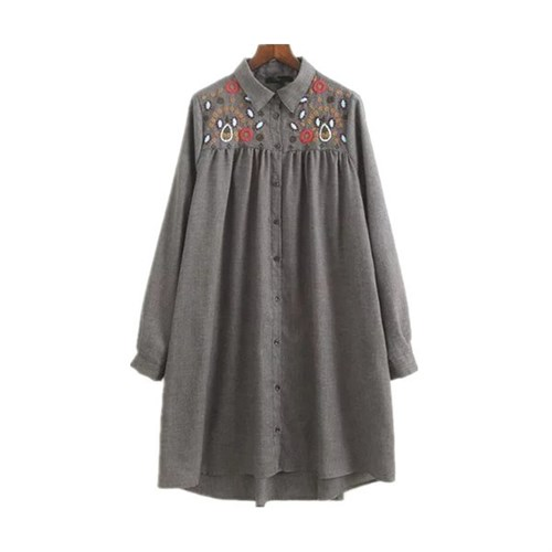 Áo sơ mi nữ dáng dài họa tiết ve áo ngực MiuMiu