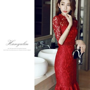 Đầm ren đuôi cá sang trọng phong cách Hàn Quốc HanyuLin