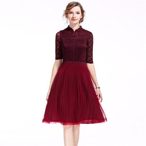 Váy xếp li ren lưới phong cách Châu Âu KLei