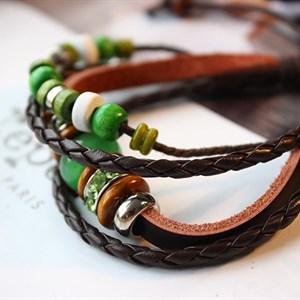 Vòng tay handmade dây da kèm đá