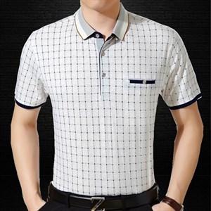 Áo T-shirt trung niên cộc tay kẻ ô Acec
