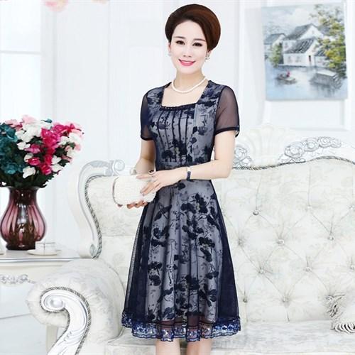 Đầm nữ trung niên cổ vuông 3716ws