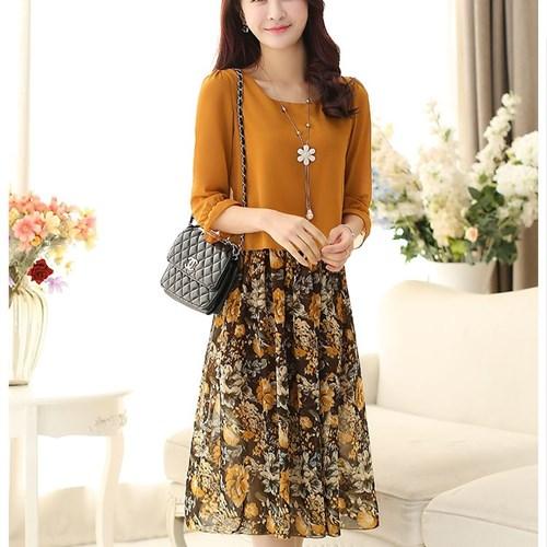 Đầm voan liền áo phong cách Hàn Quốc Nozy