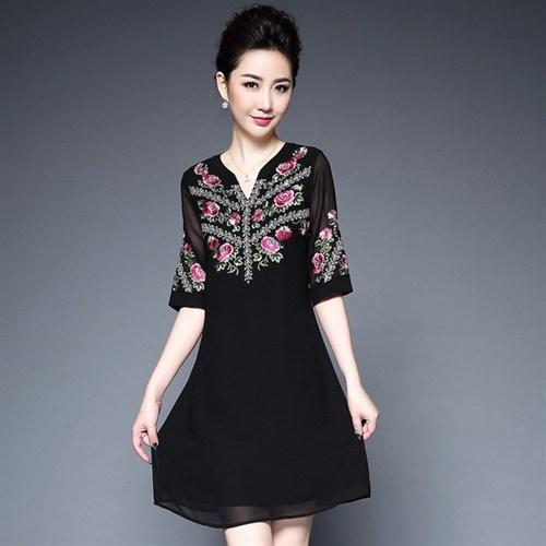 Đầm nữ cách điệu cổ chữ V JS5759