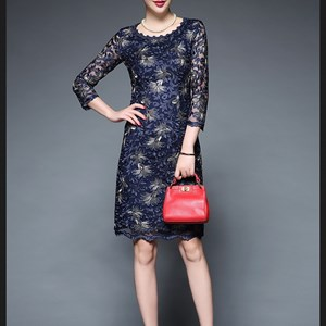 Đầm ren thêu hoa phong cách quý bà JS5759