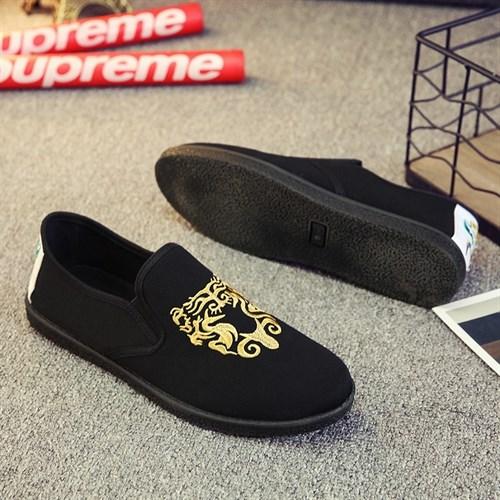 Giày vải nam thêu họa tiết XK3 - Vàng Size 42