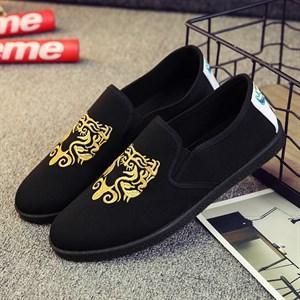 Giày vải nam thêu họa tiết XK3 - Vàng Size 40