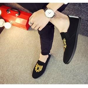 Giày vải nam thêu họa tiết XK3 - Vàng Size 41