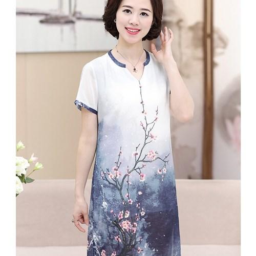 Váy suông xẻ vạt in hoa đào Sumi Tang