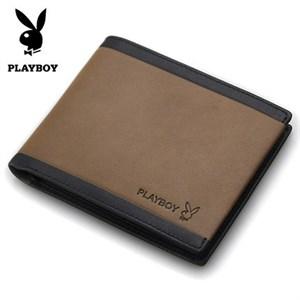 Ví da nam Playboy màu nâu viền đen