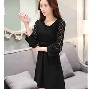 Váy nơ xòe phối lưới Feng Xiang