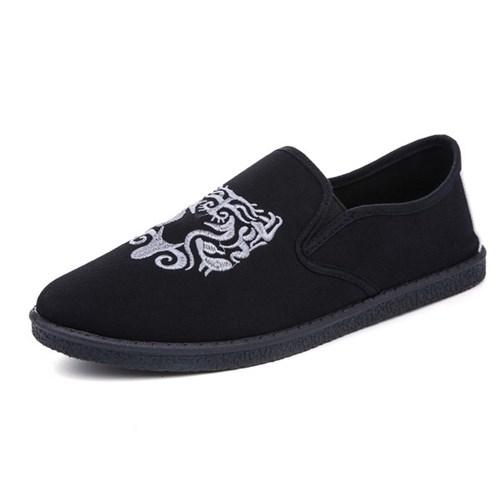 Giày vải nam thêu họa tiết XK3 (Họa tiết trắng)