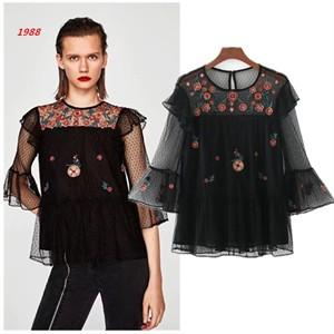 Áo ren hoa pha lưới phong cách Zara