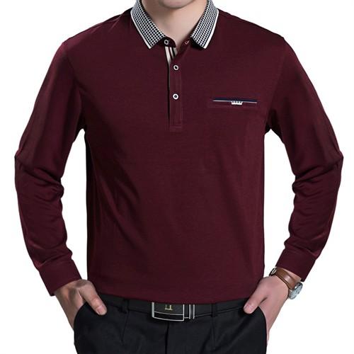 Áo thun dài tay nam trung tuổi ADG - Đỏ L