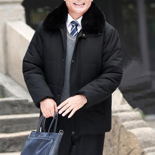Áo khoác phao nam trung niên cổ lông BHG - Đen 2XL