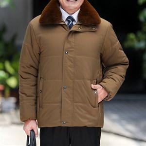 Áo khoác phao nam trung niên cổ lông BHG - Vàng nâu