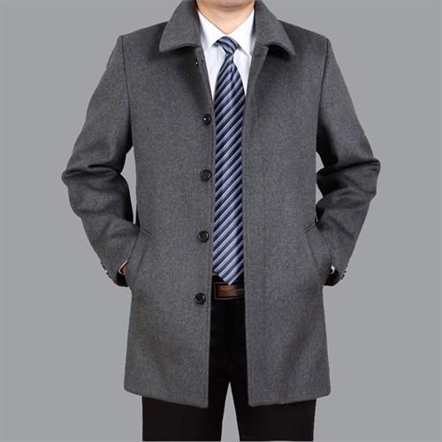 Áo khoác dạ trung niên lông cừu DNG - Xám M