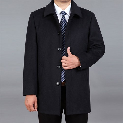 Áo khoác dạ trung niên lông cừu DNG - Màu đen L