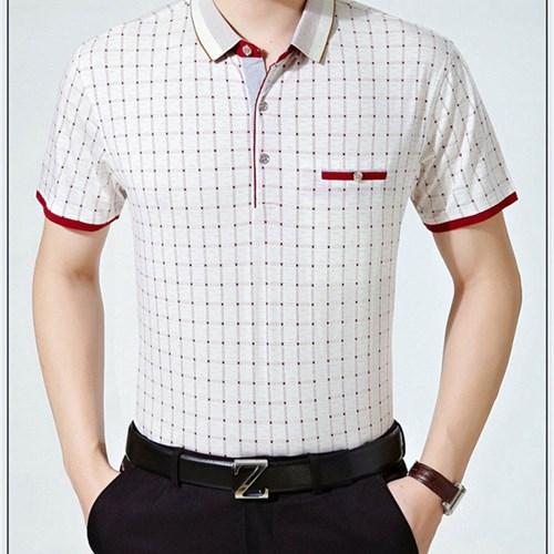 Áo T-shirt trung niên cộc tay kẻ ô Acec - Đỏ M
