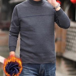 Áo len nam trung niên cổ tròn lót nhung BHG - Xám M
