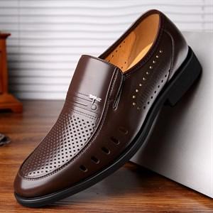 Giày da nam trung niên đục lỗ thoáng khí DARAGON-FLY Màu nâu 37