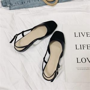 Giày sandal nữ gót vuông đế bệt Vancassie