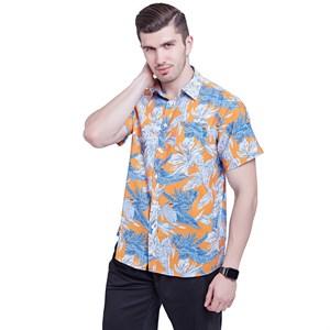 Áo sơ mi nam tay ngắn phong cách Hawaii - Màu cam