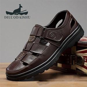 Giày da nam trung niên thoáng khí DILUO DAISHU - Màu nâu