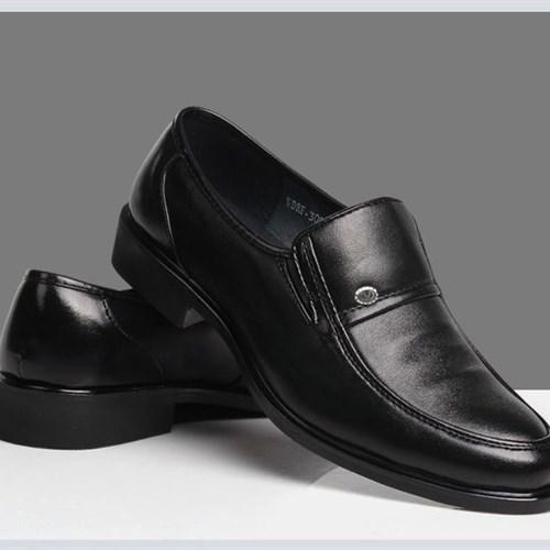 Giày lười da nam trung niên GST - Màu đen