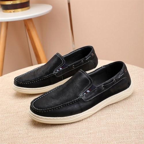 Giày lười nam da bò sáp BAYEKS - Màu đen