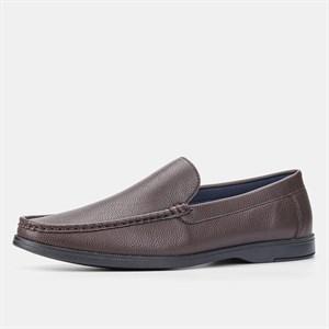 Giày lười da nam BMS - Nâu đậm