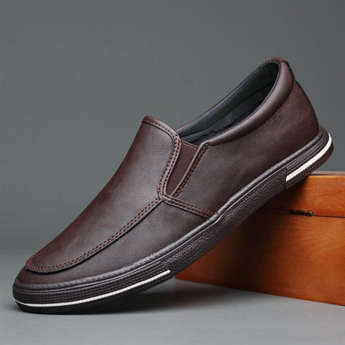 Giày slip on da nam BOD - Nâu đậm